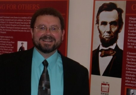 Dr. Paul Tenkotte and Lincoln exhibit