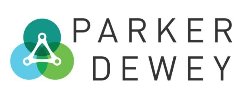 Parker Dewey Logo - three circles of blue teal and green