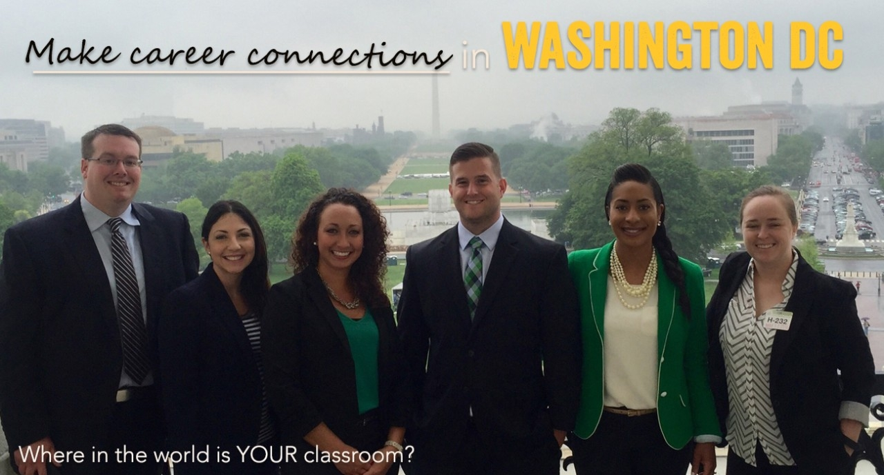 Students in suits with headline Make Career Connections in Washington DC and Where in the world is your classroom?