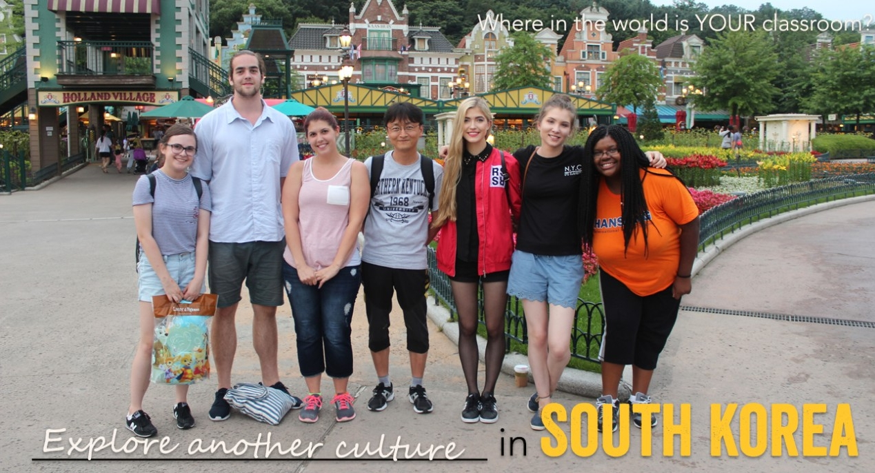 Group of students with headline Explore another culture in South Kore