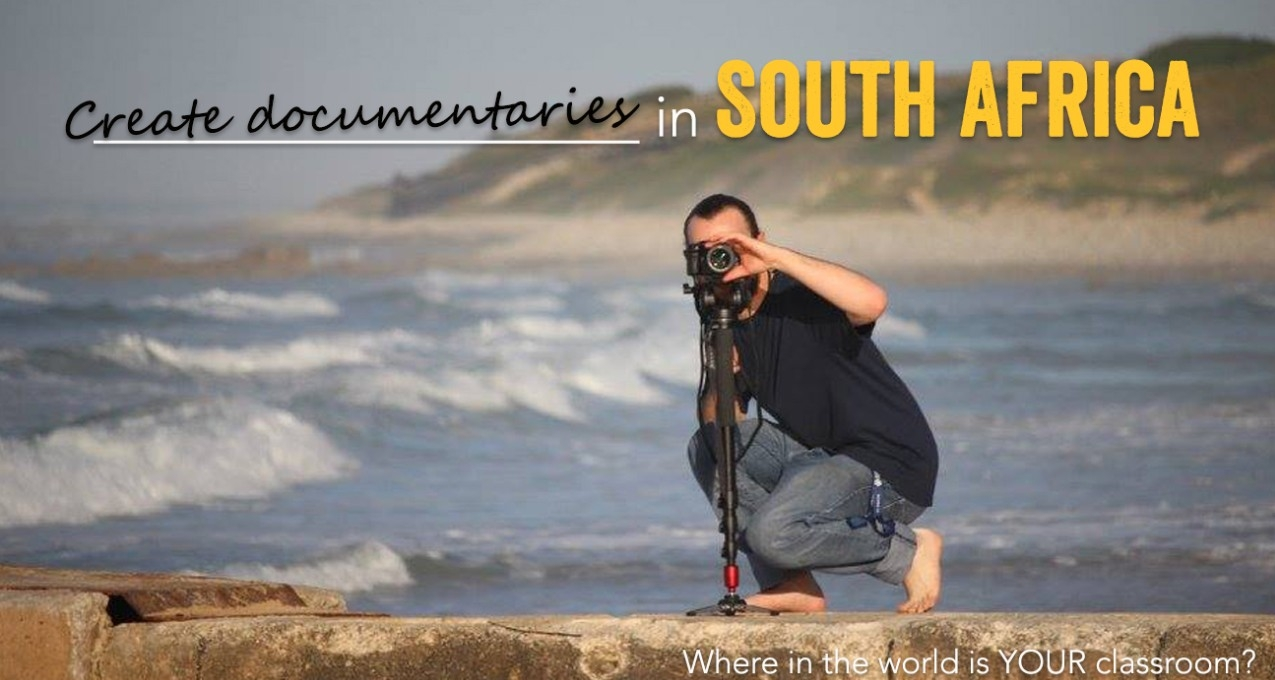 Male student taking photographs with headline Create documentaries in South Africa