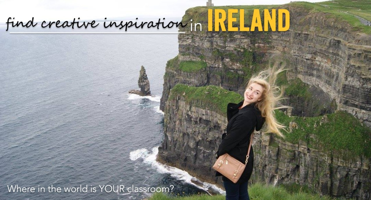 Female student standing on cliff with headline Find Creative Inspirations in Ireland
