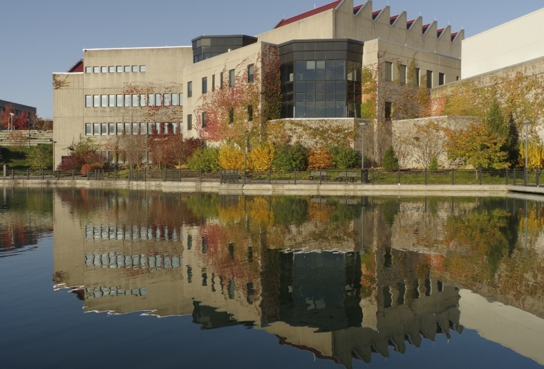 The Fine Arts building overlooking Loch Norse on NKU's campus.