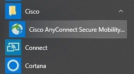 Cisco AnyConnect in a Windows Start Menu.