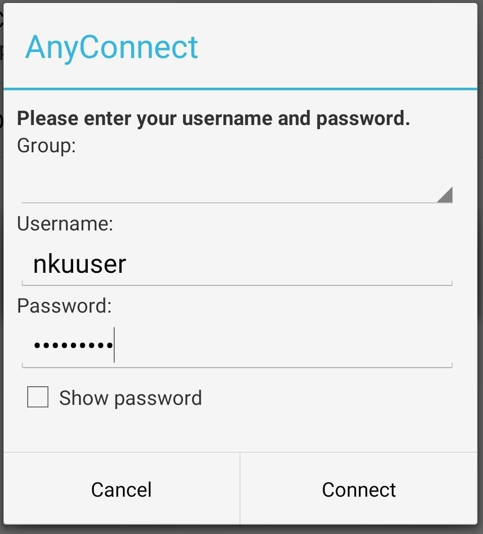 Android VPN Entering Username and Password