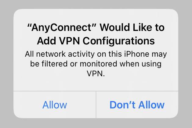 Permission to allow VPN Configurations in iOS.