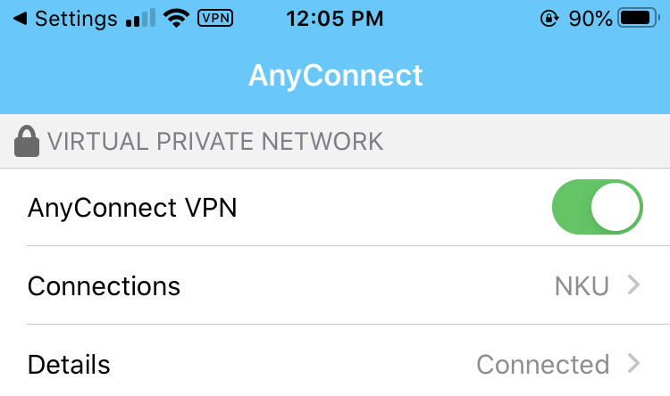 Cisco AnyConnect on iOS showing it connected to NKU's VPN.