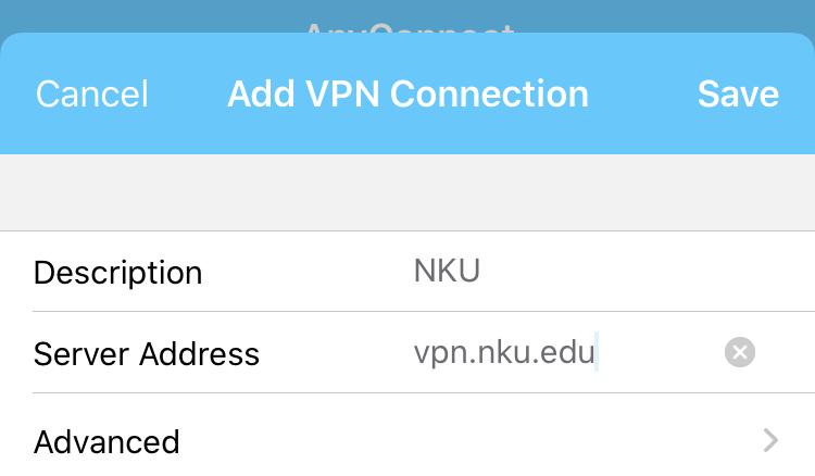 Adding NKU's VPN in iOS.
