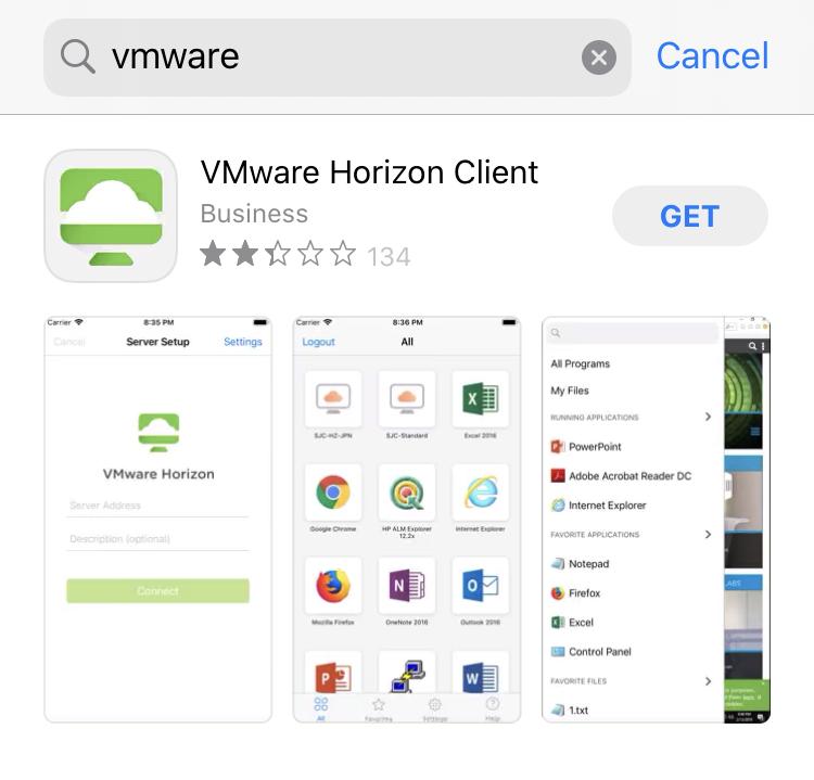 VMware Horizon Client on the Apple App Store.