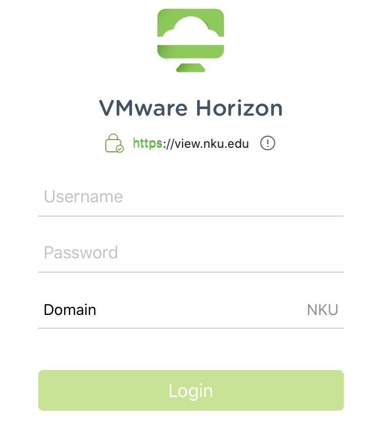 VMware Horizon login screen.