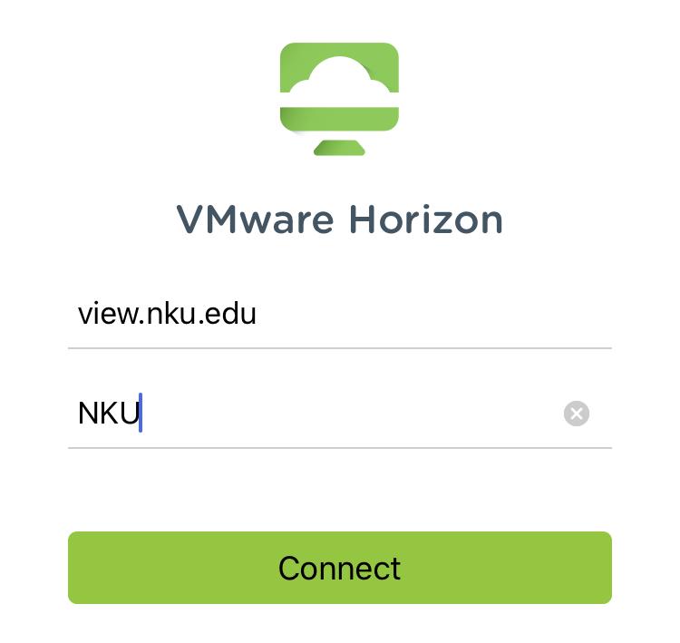 VMware Horizon Client server setup screen.