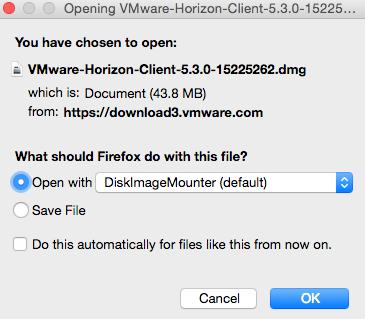 Mac VMware download/open window.