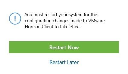 Windows VMware computer restart prompt.