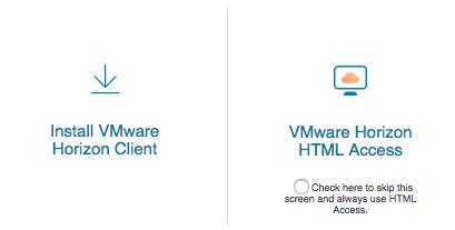 VMware type selection screen.