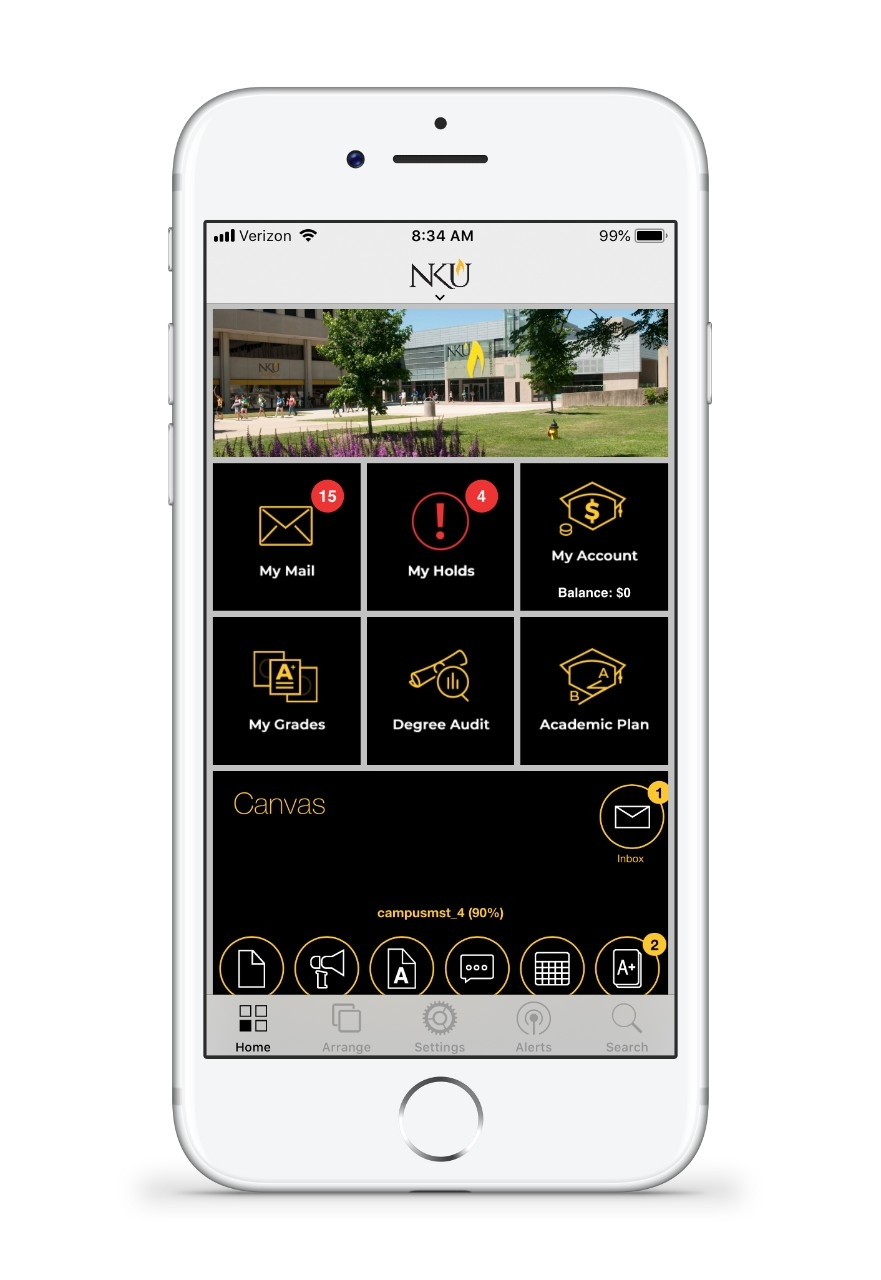 An iPhone showing the NKU Mobile App.
