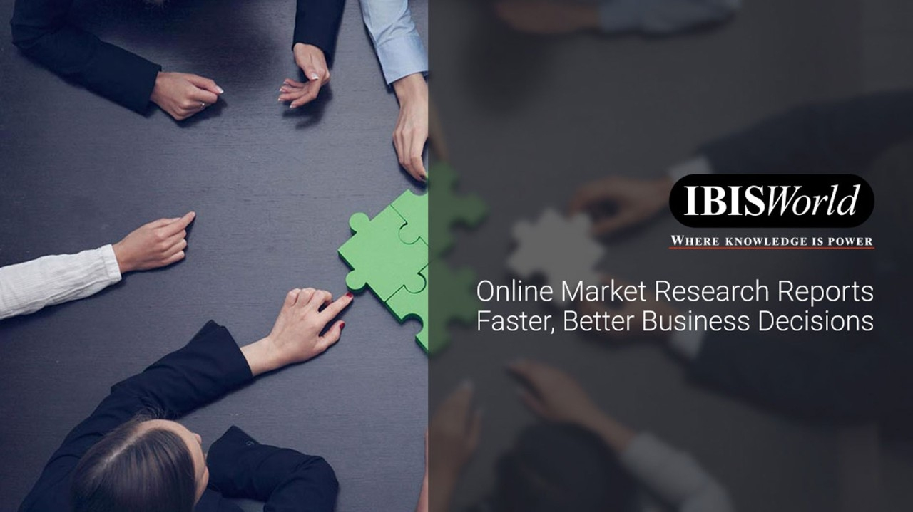 IBISWorld Banner showing multiple people working on a puzzle with words overlay: Online Marketing Research Reports Faster, Better Business Decisions