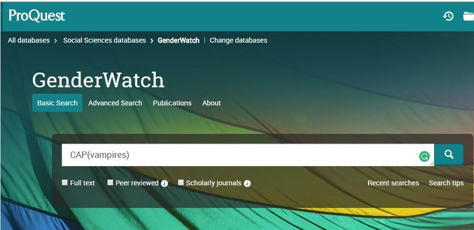 ProQuest GenderWatch Search Screen