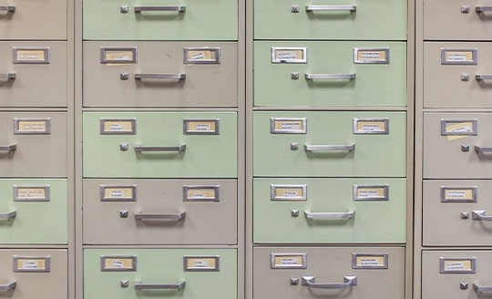 Close-up of cabinet files