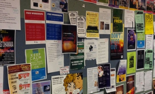 Posters and flyers on a bulletin board