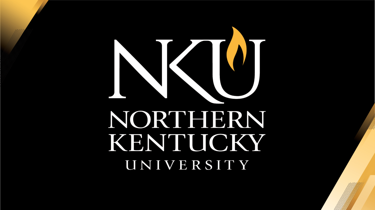 Widescreen PowerPoint Cover example with NKU logo and light path in upper left and lower right.
