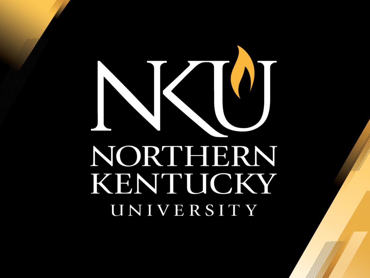 Standard PowerPoint cover example with NKU logo and light path in upper left and lower right.