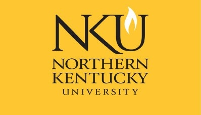 NKU Logo, stacked vertically on a gold background
