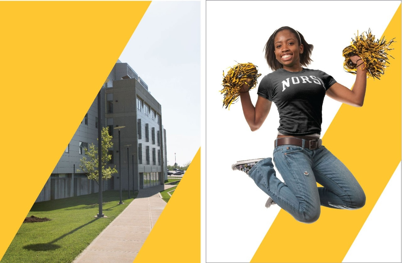 The Light Path examples: Gold diagonal stripes over a campus building; NKU Norse Fan woman with pom-poms with a gold and white background.